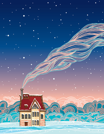 Cartoon house and smoke on a night blue sky. Winter vector landscape. Illustration