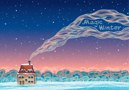 Magic winter landscape with cartoon house and smoke on a night sky. Vector