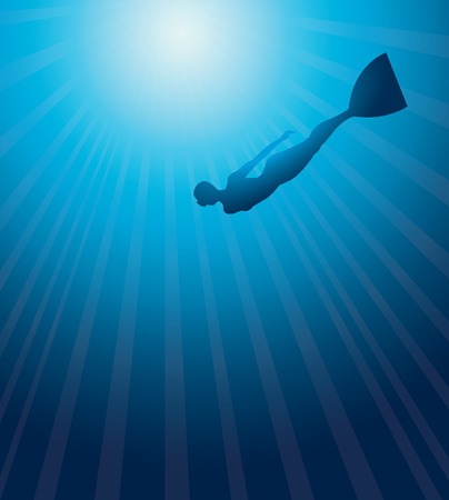 free diving: Silhouette of free diver on a blue sea background. Underwater vector.