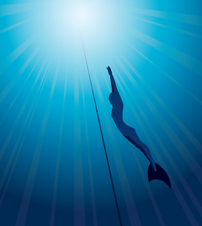 free diving: Silhouette of free diver in monofin and rope on a blue sea background. Underwater vector.