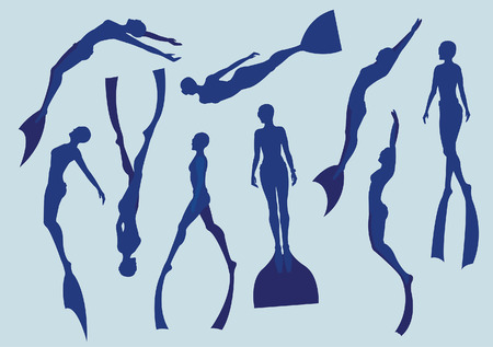 scuba diver: Set of free divers silhouette. Underwater sport.