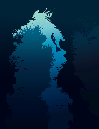 under water: Underwater cave with coral reef and silhouette of free diver on a blue sea.