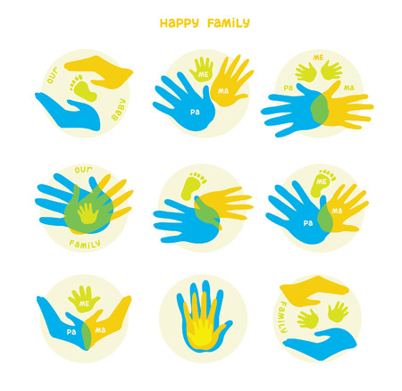 Collection of icons with human hands. Vector set with signs of love and care in family. Vector