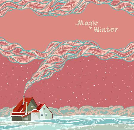 pink smoke: Magic winter landscape with cartoon house and smoke on a night sky.