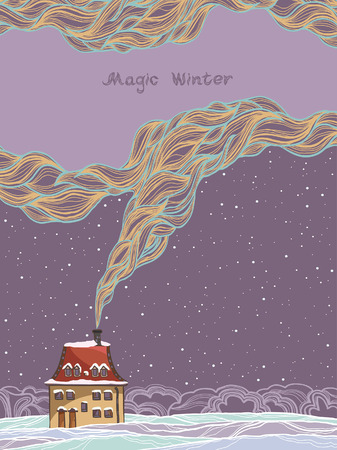 Winter vector card - cartoon house and smoke on a night sky background. Vector