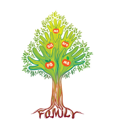 abstract family: Concept illustration- family tree. Abstract green hand tree. Illustration