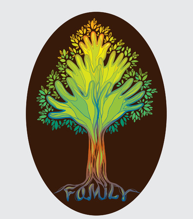 Concept illustration- family tree. Abstract colored hand tree on a brown background.