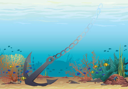 underwater fishes: Underwater vector illustration. Anchor and coral reef on a blue sea background.