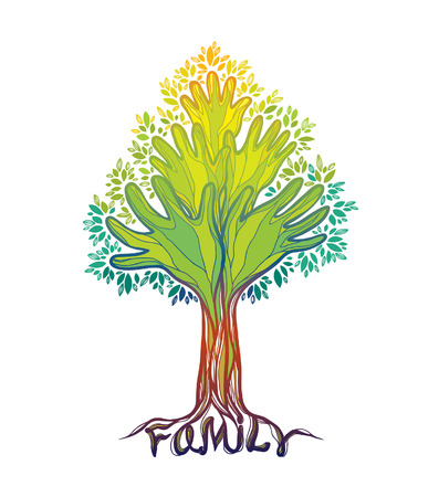 Concept illustration- family tree. Abstract green hand tree. Illustration
