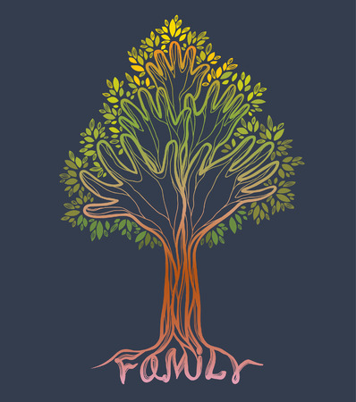 Silhouette off abstract green hand tree. Concept illustration- family tree on a gray sackground. Çizim