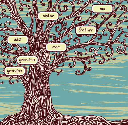 Family tree - Old oak tree on a blue background.  Stock Illustratie