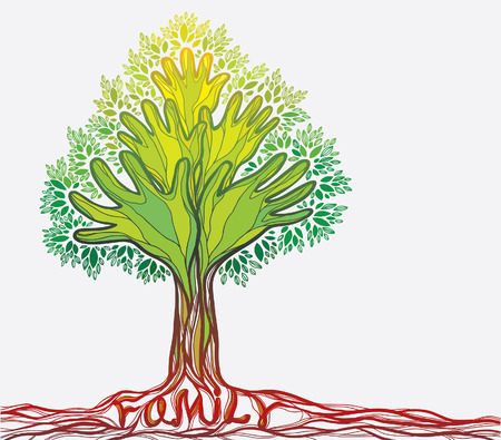 green hand: Concept illustration with family tree. Abstract green hand tree.