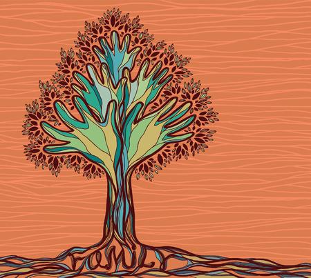 Concept illustration avec arbre généalogique. Arbre main verte Résumé sur le fond orange. Banque d'images - 35416968