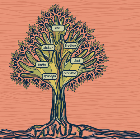 family history: Family tree with hand-branch. Concept illustration - signs of love and care in family. Illustration