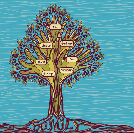 family history: Family green tree on a blue background. Concept illustration - Signs of love and care in family.