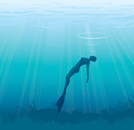 Silhouette of free diver on a blue sea background.