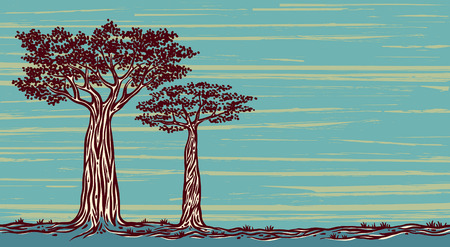 Two graphic baobabs on a blue background. Vector landscape of Madagaskar.