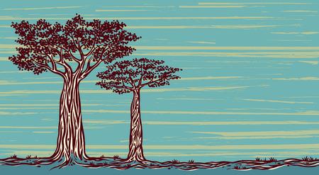 paisagem: Dois baobás gráficos sobre um fundo azul. Paisagem do vetor de Madagáscar.