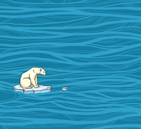 Polar bear sitting on a melting ice in a midst of polluted sea. Global pollution problem.