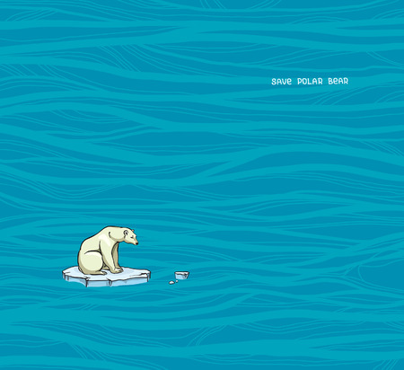 Polar bear sitting on a melting ice in a sea. Global warming problem. Vector