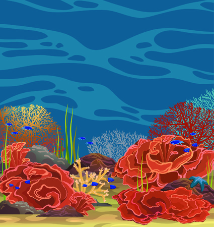 reef: Underwater vector seascape with coral reef and fish on a blue sea.