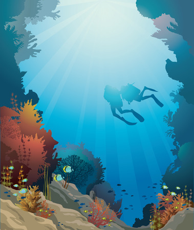 Coral reef with underwater cave and silhouette of two divers on a blue sea. Vectores