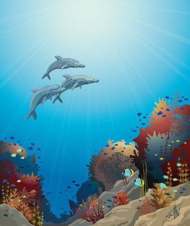 Three dolphins  and coral reef on a blue sea. Underwater vector illustration.