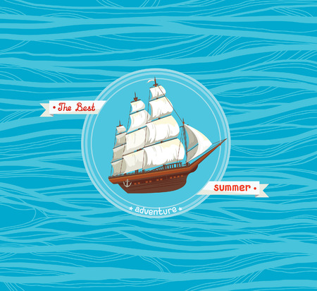 schooner: Traditional old sailboat with white sails on a blue sea. Card of the summer adventures. Illustration