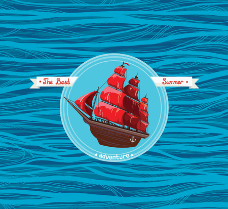 schooner: Nautical emblem - old sailboat with red sails on a blue sea background. Card of the best summer adventures. Illustration