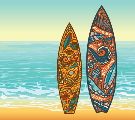 Two surfboards and beach on a blue sea. Vector summer holidays.