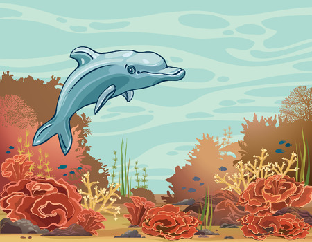 bottom of sea: Cartoon funny dolphin and underwater coral reef on a blue sea background. Vector mammal animal.