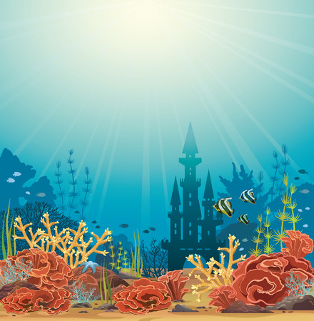 coral: Silhouette of underwater castle and colorful coral reef with tropical fishes. Vector seascape illustration.