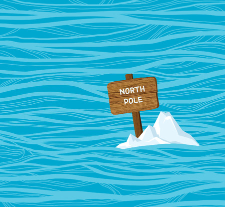 Vector wooden board with text North Pole in the blue water. Problem of global warming and climate change.