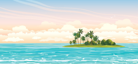 Green island with coconut palms in the blue sea on a cloudy sky. Vector seascape illustration.