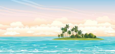 Zielona wyspa z palmami kokosowymi w niebieskim morzu na zachmurzonym niebie. Wektor krajobraz ilustracji.