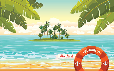 ocean view: Green island with coconut palms in the blue sea on a cloudy sky. Vector summer holiday.
