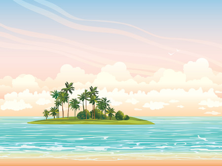 Green coconat island ans blue sea on a sunset sky with clouds. Vector tropical seascape illustration.