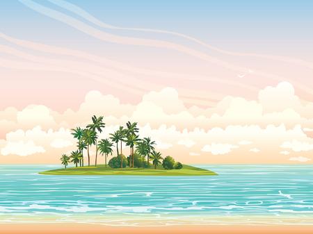 녹색 coconat 섬은 구름과 일몰 하늘에 푸른 바다 ans와. 벡터 열 대 바다 그림입니다. 스톡 콘텐츠 - 37408474