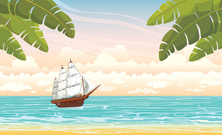 ocean view: Traditional wooden sailboat and blue sea on a cloudy sky. Vector summer voyage. Illustration