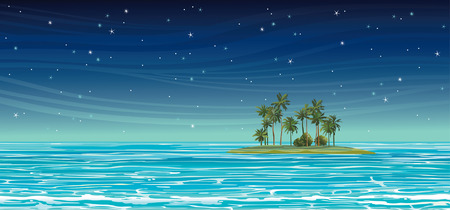 ocean cartoon: Green island with coconut palms in the blue sea on a night starry sky. Vector seascape illustration. Illustration