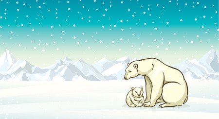 Polar bear with small baby on a winter landscape background. Vector illustration.
