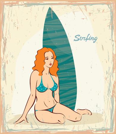 pin up vintage: Giovane donna in bikini azzurro e tavola da surf. Vector in pin up stile. Retro card.