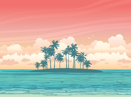 sunset palm trees: Green coconat island ans sea on a sunset sky with clouds. Vector tropical seascape illustration.