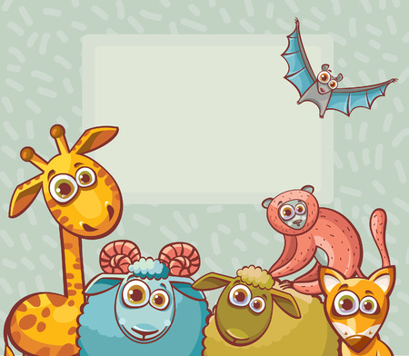 large group of animals: Funny cartoon animals with big eyes - giraffe, bat, ram, sheep, lemur and fox. Childish vector illustration.