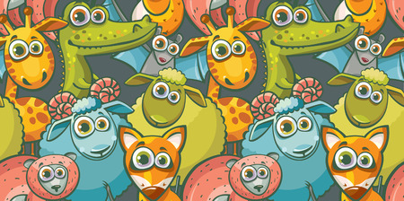 childish: Seamless pattern with cartoon funny animal. Childish vector wallpaper. Illustration