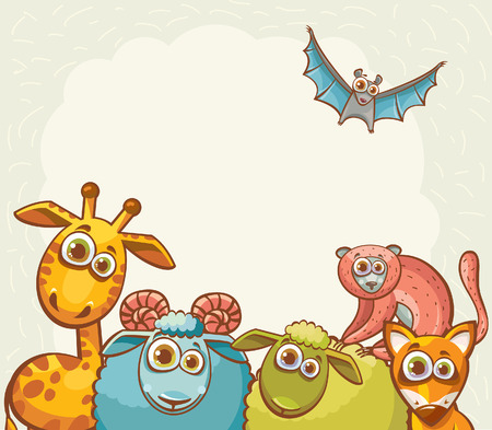 bat animal: Childish vector illustration. Funny cartoon animals- giraffe, fox, lemur, sheep, ram and bat.