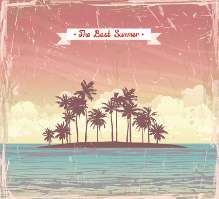 Tropical coconut island in the sea on a sunset cloudy sky. Vector grange holiday card.