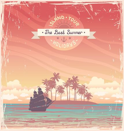 Silhouette of old sailboat and coconat island on a sunset sky. Vector grange holiday card.