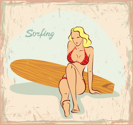 pin up: Blonde girl in red bikini and wooden surfboard. Vector in pin up style. Illustration
