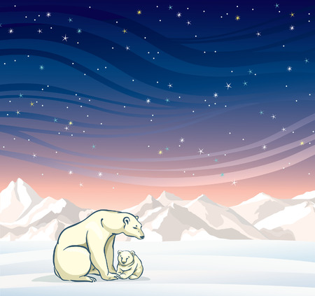 Polar bear with baby on a night starry sky. Nature vector winter landscape.